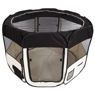 """57"""" Portable Foldable 600D Oxford Cloth & Mesh Pet Playpen Fence with Eight Panels Black"""