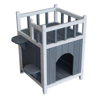 Wooden Pet Home with Balcony Gray & White