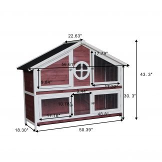 Wooden Pet House, Red