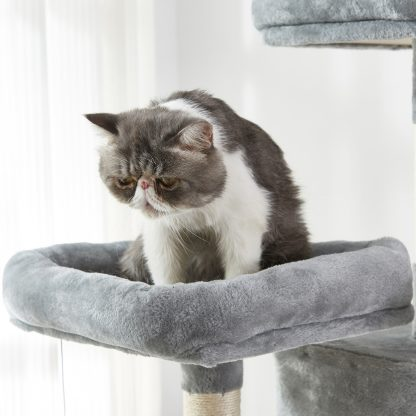 """70.8"""" Multi-Level Cat Tree With 2 Condos, Long Slope, Hammock And Top Perch"""