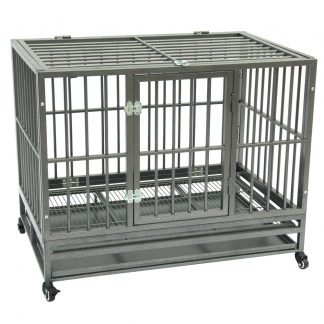 """42"""" Heavy Duty Dog Cage, Portable With Tray, Silver"""