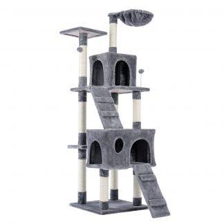 Cat Tree Activity Center With Spacious Perches & 2 Plush Condos, Beige