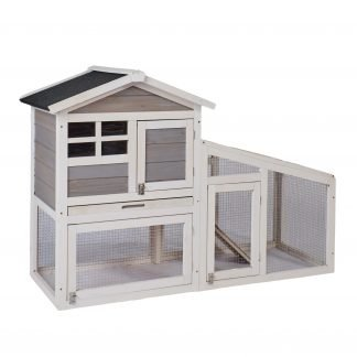 Wooden Bunny Cage Hen House With Run, Gray