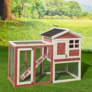 """48"""" Large Wooden Rabbit Hutch, Auburn and White"""