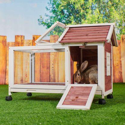 Wooden Rabbit Hutch With 4 Wheels, Auburn