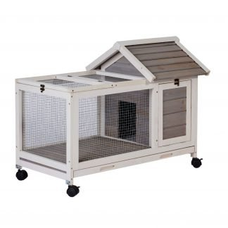 Wooden Bunny Cage With 4 Wheels