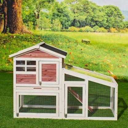Wooden Bunny Cage Hen House With Run, Auburn