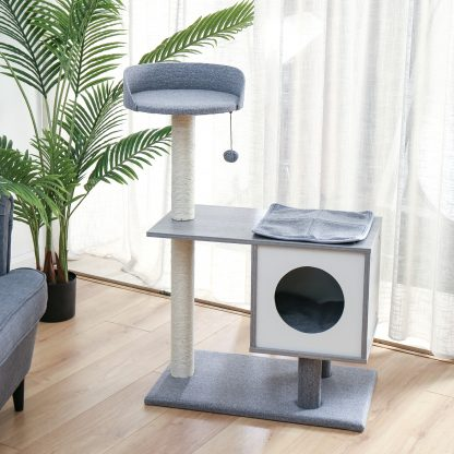 Modern Cat Tree Cat Tower Featuring With Sisal-covered Scratching Posts